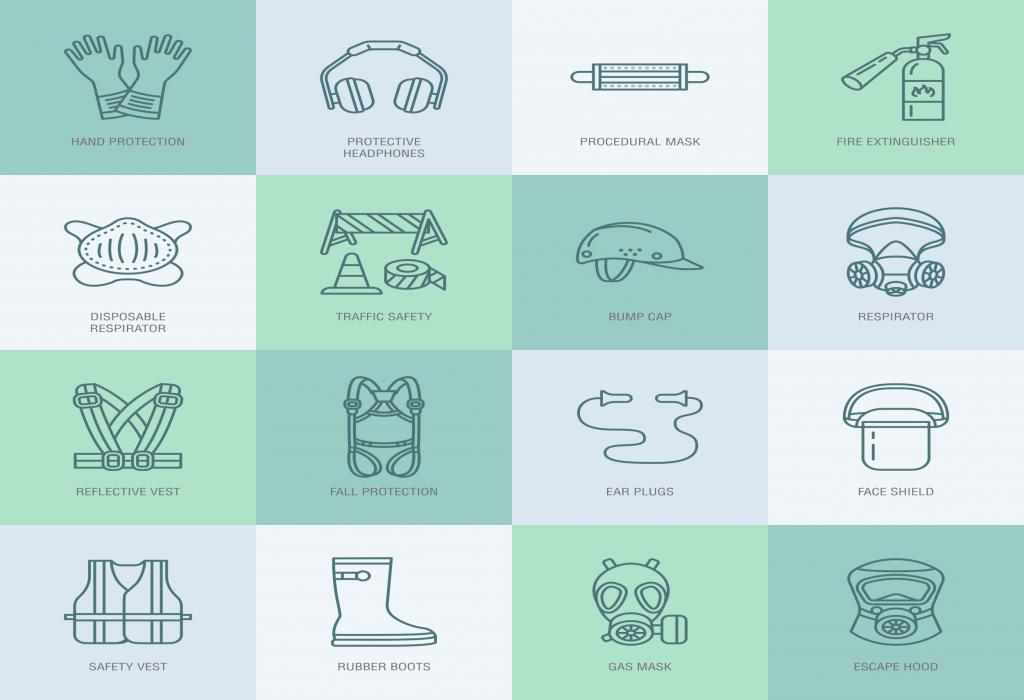 Dispositivi e Attrezzature prevenzione e protezione rappresentazione icone